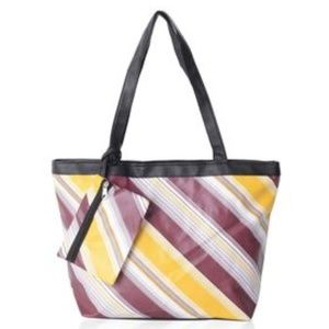 Yellow and Marsala Striped Tote Bag